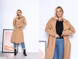 Стильне кашемірове пальто жіноче осіннє нижче колін вільного крою з поясом на запах р-ри 42-46 арт. 811