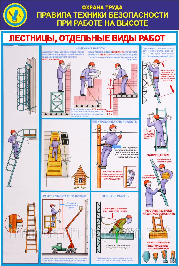 плакат работа на высоте по новым правилам колпачок выделяем