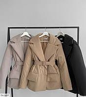 Молодіжна коротка куртка-піджак матова плащівка на синтепоні з поясом осінь-весна р-ри 42-48 арт. 310