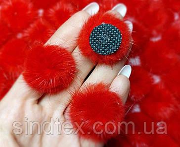 Норка хутряні помпони Ø25мм, міні помпони з хутра колір - Червоний (сп7нг-8190)