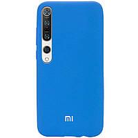 Чехол Silicone Cover Full Protective (AA) для Xiaomi Mi 10 / Mi 10 Pro Белый / White Голубой / Azure