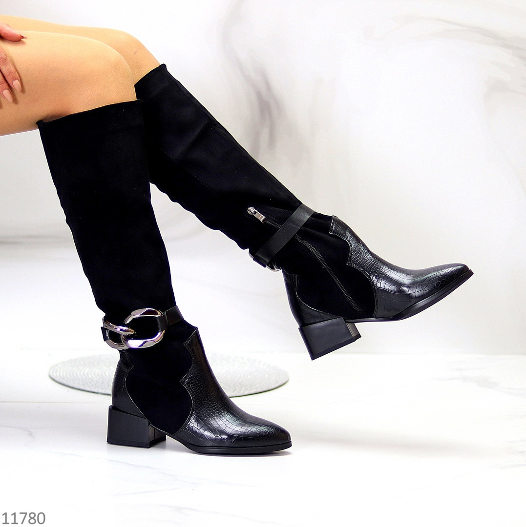 Лаконічні миксовые чорні замшеві високі жіночі чоботи низький каблук