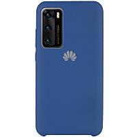 Силиконовый чехол с микрофиброй (AAA) для Huawei P40 Синий / Blue