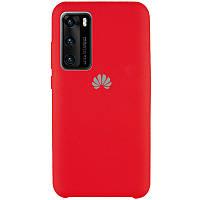 Силиконовый чехол с микрофиброй (AAA) для Huawei P40 Красный / Red