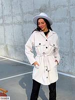 Кашемировое пальто-рубашка женское утепленное модное демисезонное на пуговицах с поясом р-ры 42-46 арт. 2821