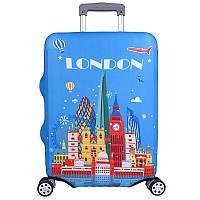 """Защитный чехол для чемодана Travel M 24"""" Голубой / Лондон"""