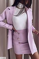 Элегантный классический юбочный костюм мини юбка с удлиненным пиджаком из костюмной ткани арт. 7084