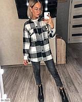 Байкова куртка-сорочка жіноча стильна модна в клітку осіння р-ри S-M, L-XL арт. 340