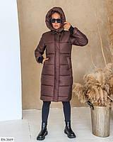 Теплое зимнее стеганное пальто-пуховик на синтепоне с капюшоном на молнии и кнопках ворот-стойка арт 246
