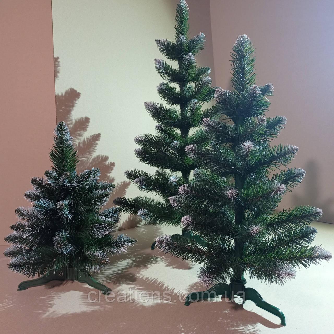"""Искусственная елка 0,35 м. """"Лесная заснеженная"""" с белыми кончиками и с подставкой"""