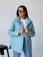Куртка-сорочка жіноча осіння на кнопках подовжена ззаду утеплена силіконом р-ри S, M, L, XL арт. 084