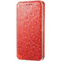 Кожаный чехол книжка GETMAN Mandala (PU) для Xiaomi Poco M3 Красный