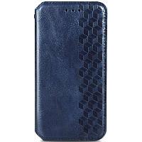 Кожаный чехол книжка GETMAN Cubic (PU) для Xiaomi Poco M3 Синий