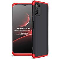 Пластиковая накладка GKK LikGus 360 градусов (opp) для Xiaomi Poco M3 Черный / Красный