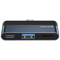 Переходник HUB Usams US-SJ491 Type-C Mini Hub (Type-C + USB + Micro SD)