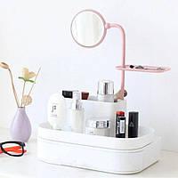 Настольный бокс для хранения косметики с выдвижными ящиками и зеркалом органайзер, фото 1