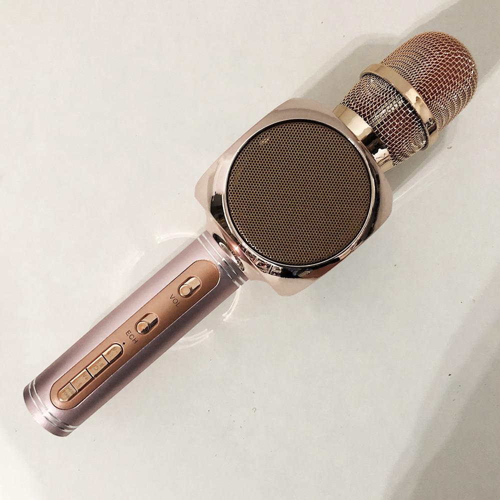 Бездротовий Bluetooth Мікрофон для Караоке Мікрофон DM Karaoke Y 63 + BT. Колір рожевий