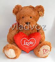 Мягкий мишка с сердцем Love с мелодией коричневый