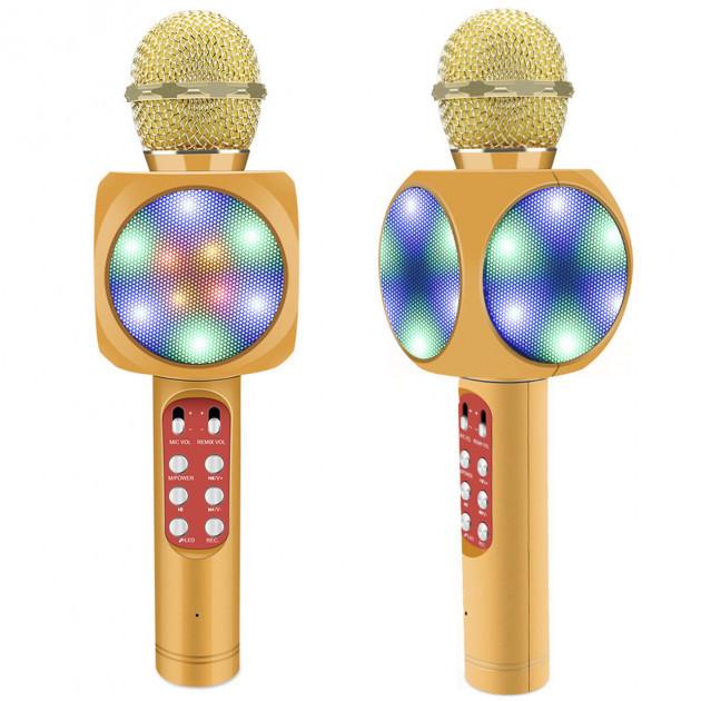Безпровідний мікрофон караоке bluetooth WSTER WS-1816. Колір: золотий