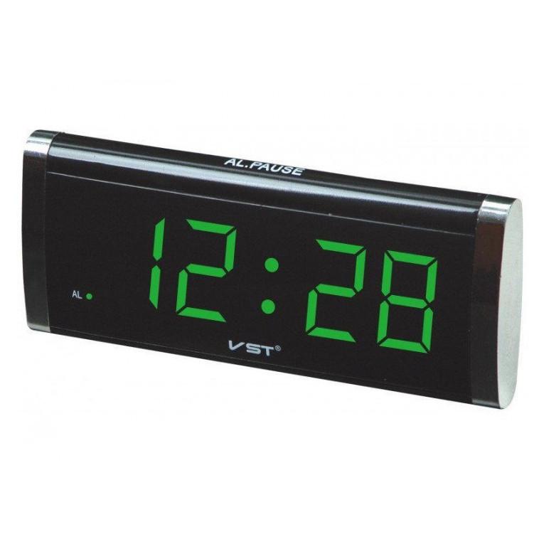 Електронний годинник VST 730 green, цифровий настільний мережевий годинник, led alarm clock VST-730, годинник з будильником