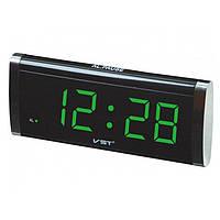 Електронний годинник VST 730 green, цифровий настільний мережевий годинник, led alarm clock VST-730, годинник з будильником, фото 1