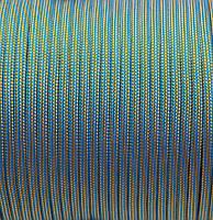 Шнур нейлоновый 4 мм (паракорд) голубой с желтым, 50 м