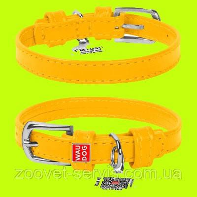 Ошейник для собак кожаный WAUDOG Glamour с QR паспортом, без украшений, Ш 12 мм, Дл 21-29 см, желтый, фото 2