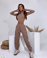 Прогулянковий стильний жіночий костюм з двуніткі коротка кофта-топ і високі штани р-ри 42-44,44-46