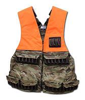 Полу жилет разгрузочный 37 патронов регулируемый с рюкзаком, Multicam 12к. с накладками оранж.