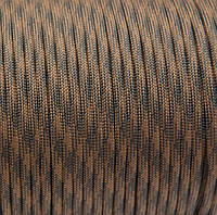 Шнур нейлоновый 4 мм (паракорд) черно-коричневый, 50 м