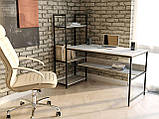Компьютерный стол лофтовый со стеллажом сбоку из ДСП VZ-61, фото 7
