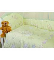 Комплект детского постельного белья «Малыш Lux»,Мишки- звезды зеленый