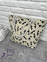 Сумка пляжная текстильная «Birds» (3064) Бежевый