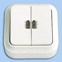А510-215 Выключатель двойной с подсветкой наружный Пралеска Bylectrica белый
