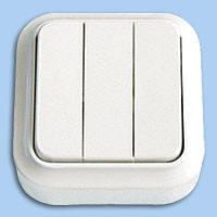 А056-137 Выключатель тройной наружный Пралеска Bylectrica белый