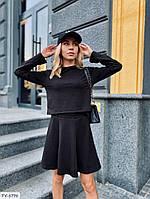Трендовий модний жіночий костюм з прямою короткою спідницею і топом з двох-нитки арт 1410