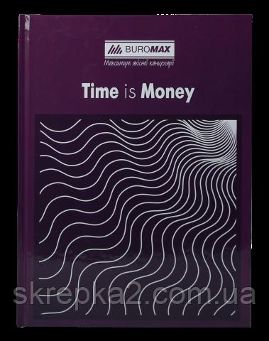 Книга канцелярська TIME IS MONEY, А4, 96 арк., клітинка, офсет, тверда ламінована обкладинка, фіолетова