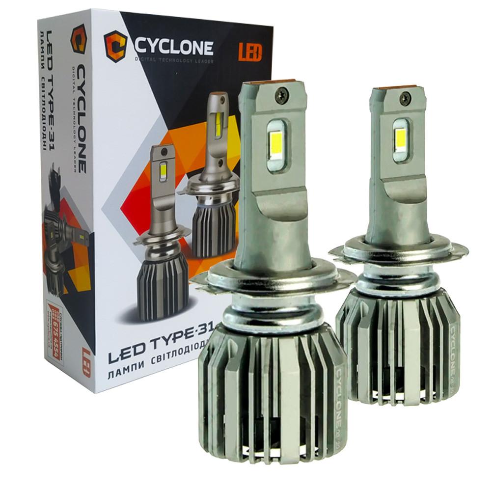 Лампа светодиодная для фар CYCLONE LED H7 5700K 6000LM TYPE 31 2 шт комплект