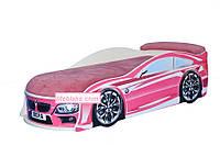 Кровать машина БМВ розовая (большая)