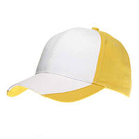 Кепка 'Комфорт-Дабл' (Sun Line) двухцветная, 6-ти панельная, 100% хлопок, уплотнённый козырёк, жёлто-белая