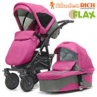 Коляска 2 в 1 Kinder Rich Fox Flax (Pink) розовый