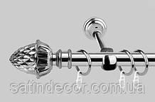 Карниз для штор металлический ШИШКА однорядный 16мм 1.6м Хром
