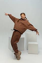 Тренд Теплый костюм оверсайз на флисе Манифик на девочку,подростка, девушку цвет мокко