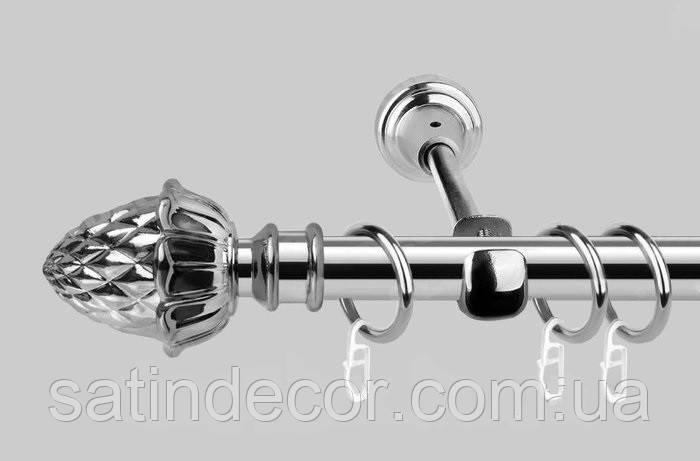 Карниз для штор металлический ШИШКА однорядный 16мм 2.0м Хром
