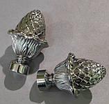Карниз для штор металлический ШИШКА однорядный 16мм 2.0м Хром, фото 2