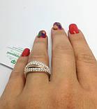 Серебряное кольцо с золотом и фианитами Хвилька, фото 5