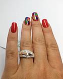 Серебряное кольцо с золотом и фианитами Хвилька, фото 6