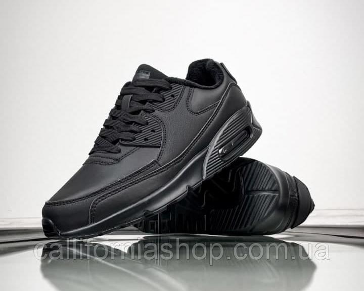 Чоловічі зимові спортивні кросівки чорні шкіряні утеплені на хутрі
