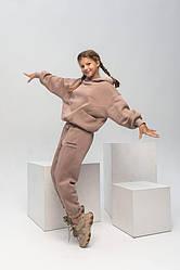 Тренд Теплий костюм оверсайз на флісі Маніфік на дівчинку підлітка, дівчину колір капучіно
