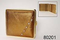 Портсигар 80201 д.18 KS сигарет, металл, кожа бронза/стразы белые/золото